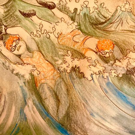 orange hat ladies; sea swimming; wild swimming; karen mead; illustration; women swimming