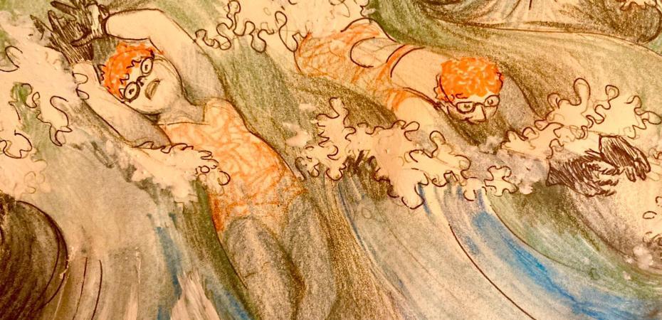 orange hat ladies; sea swimming; wild swimming; karen mead; illustration; women swimming