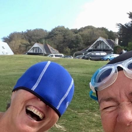 laughing; laughing swimmers; sea swimming; orange hat ladies;