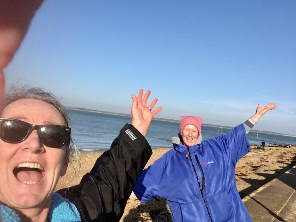 Tides, sea swimming, Orange Hat Ladies, wild swimming, Isle of Wight, laughing swimmers