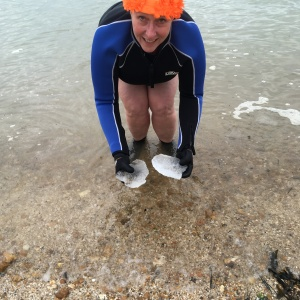 ice, sea swimming, outdoor swimming, orange hat ladies, wild swimming, winter swim