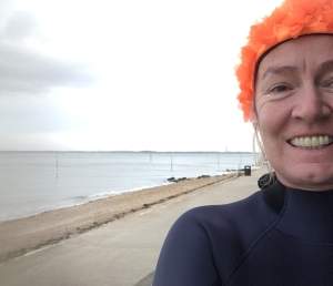 orange hat ladies, wild swimming, swimming women, isle of wight, outdoor swimming