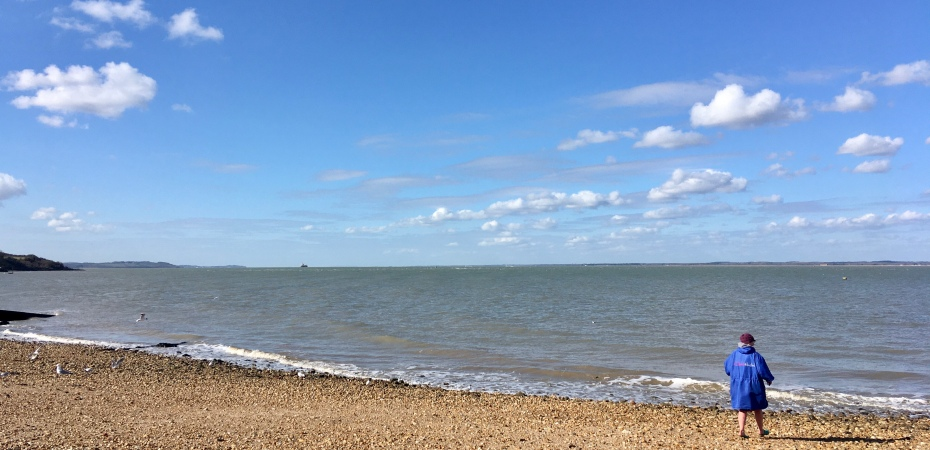 sunshine, sea swimming, orange hat ladies, wild swimming, march wether, low tide
