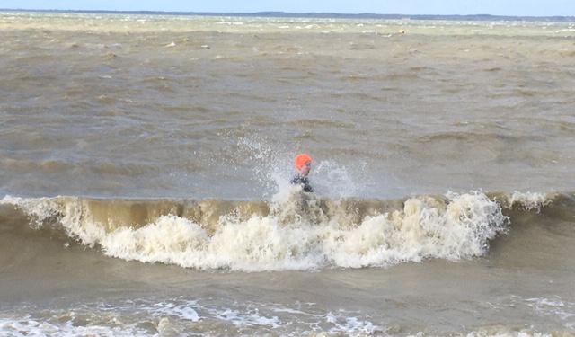 orange hat ladies, sea swimming, wild swimming, outdoor swimming, march swimming, cold water swimming