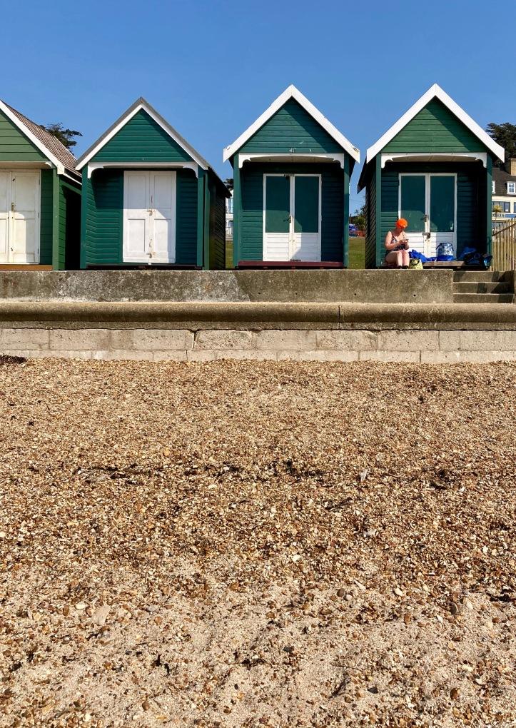 sunshine, gurnard, april 2020, orange hat ladies, sea swimming, wild swimming, outdoor swimming, isle of wight, beach hut