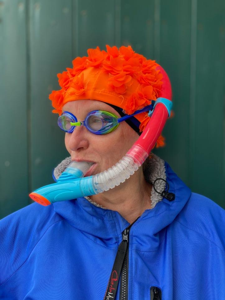 swim buddy, orange hat ladies, snorkel, sea swimming, swim kit