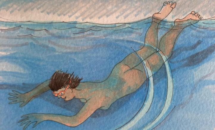 orange hat ladies, wild swimming, skinny dipping, women swimming