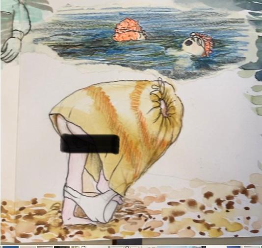 orange hat ladies, sea swimming