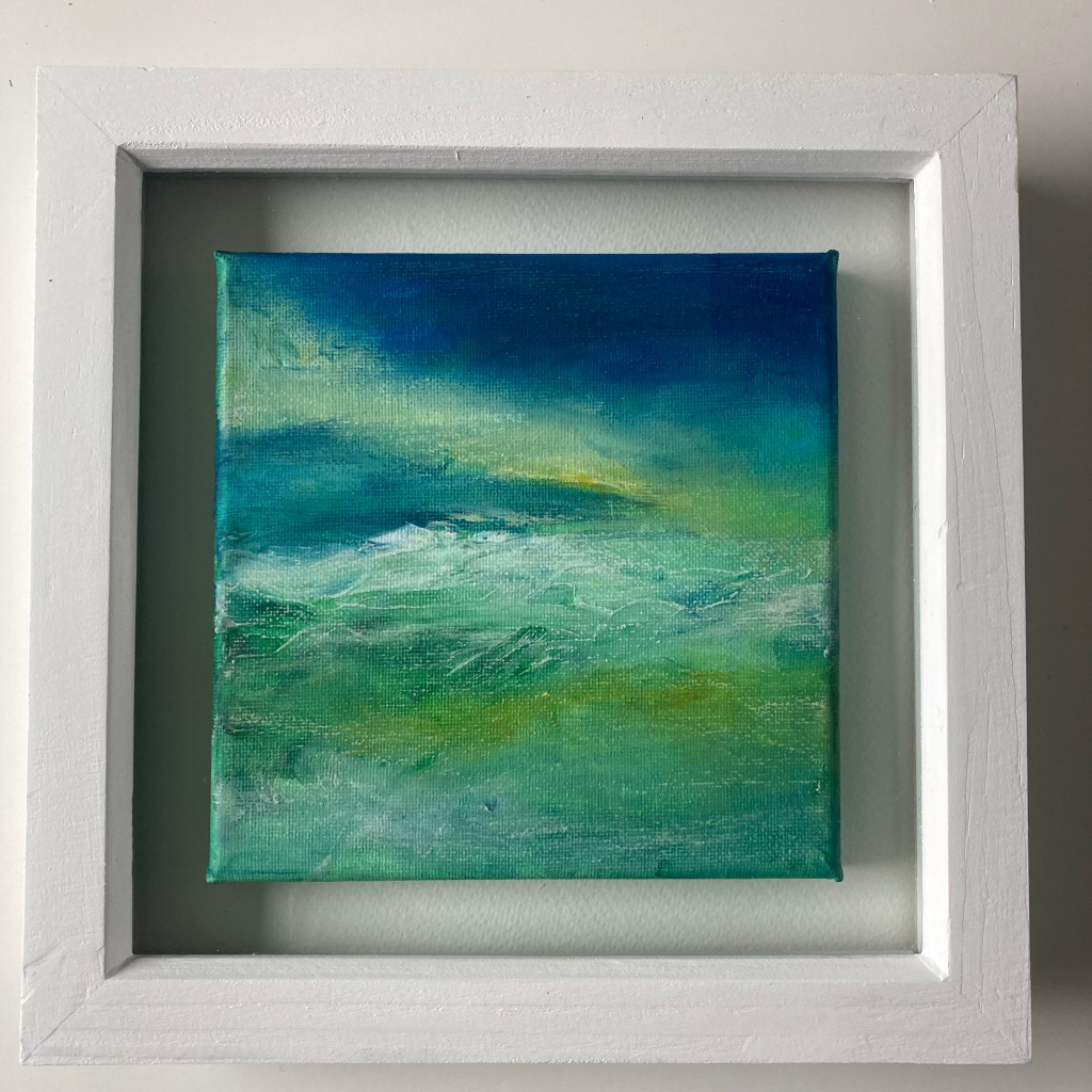 Fran Farrar, seascape, framed artwork, orange hat ladies