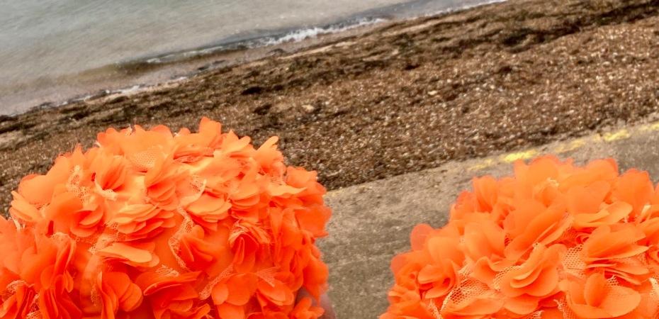orange hat ladies, sea swimming, swimming women
